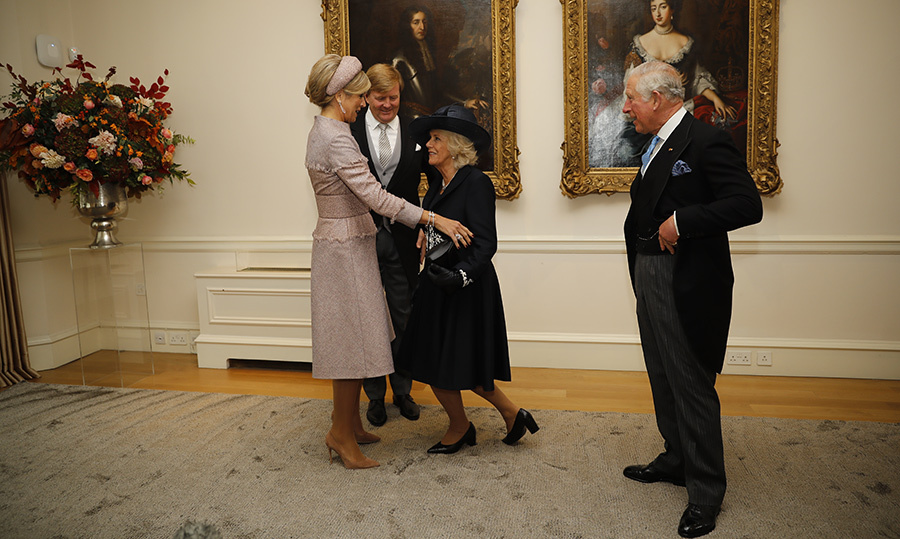 The Dutch royals visited with the Duchess of Cornwall and Prince Charles while stopping by the Dutch ambassador's residence. Camilla curtsied to the Queen, who smiled down at her.