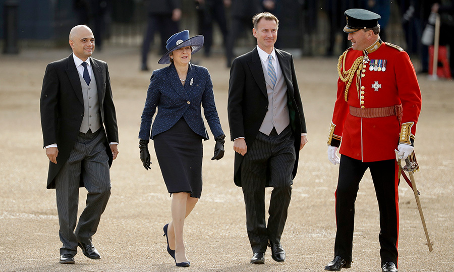 British Prime Minister Theresa May arrived with Home Secretary Sajid Javid and Foreign Secretary Jeremy Hunt to greet King Willem-Alexander and Queen Máxima of the Netherlands during the Ceremonial Welcome.