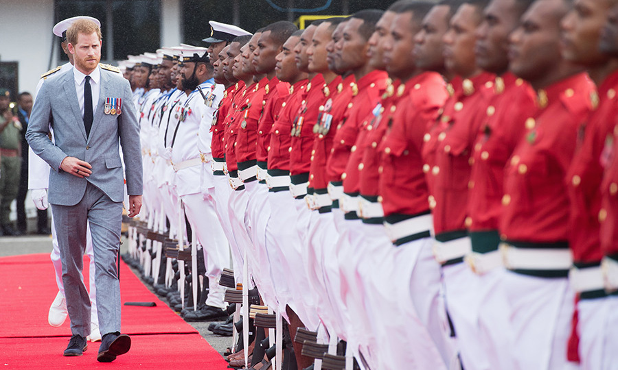 As the 3rd Battalion Fiji Infantry Regiment and the Fiji Navy stood at attention, Prince Harry was invited to inspect the troops.