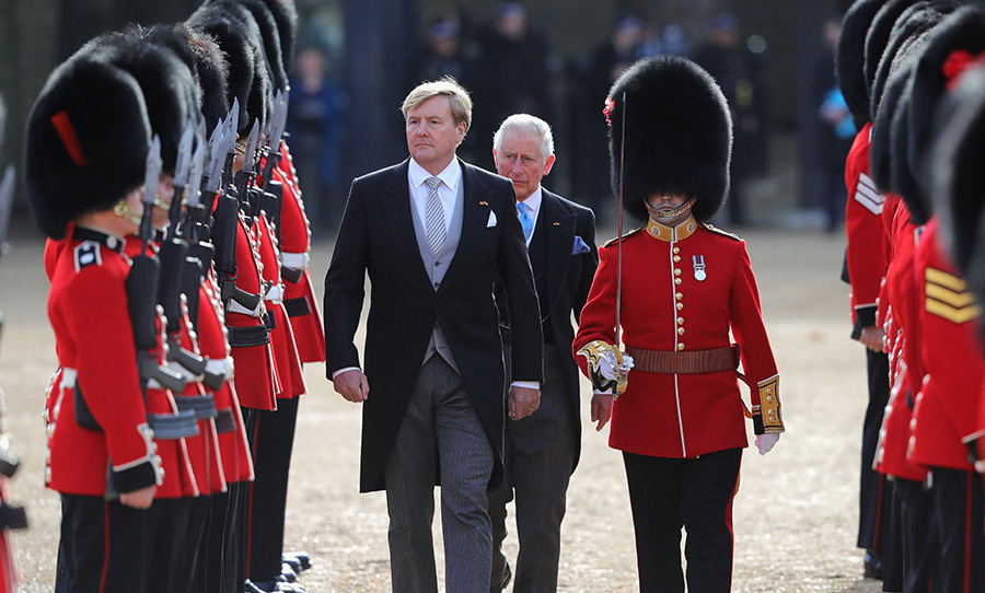 The Dutch king and Prince Charles inspected the Guard of Honour.