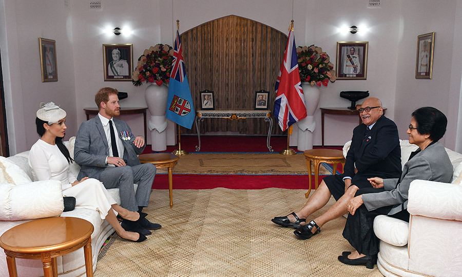 The duke and duchess were welcomed by the President of Fiji Jioji Konrote and his wife Sarote Faga Konrote during a meeting in Suva following the welcome ceremony. 