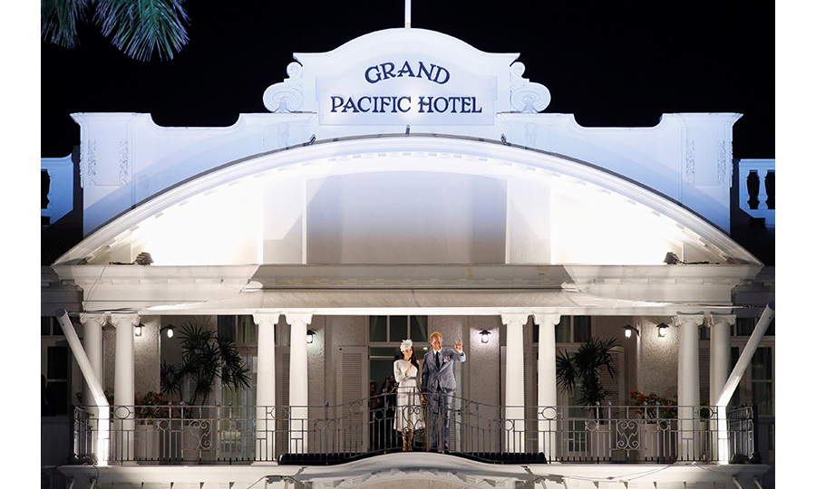 Harry and Meghan recreated the iconic pose on the balcony of the Grand Pacific Hotel that the Queen and Prince Philip made during her coronation tour in 1953. Prince Charles has also stayed here, among other royals through the decades.