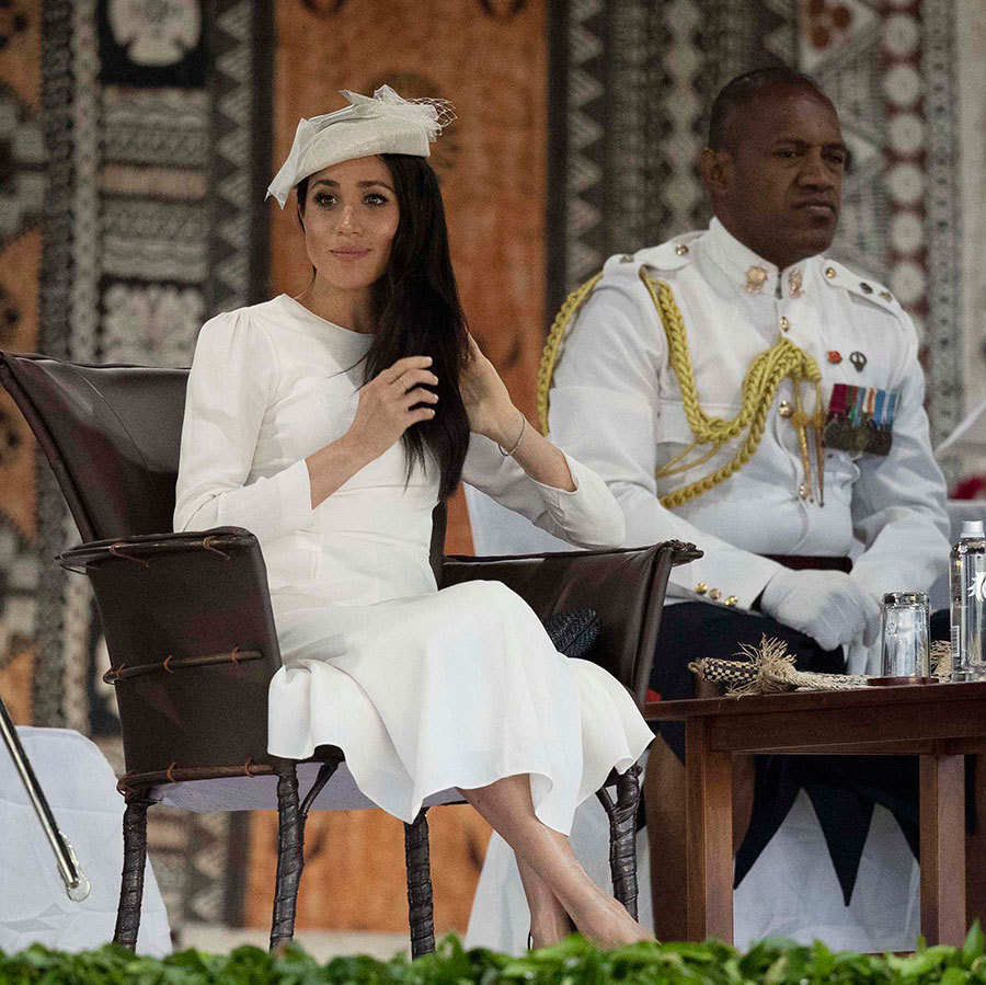 The couple settled into their leather chairs for their formal welcome, the Veirqaraqaravi Vakavanua. Meghan seemed delighted by the traditional ceremony, which explores Fijian heritage and culture - similar to the one attended by the Queen and Prince Philip in 1953.
