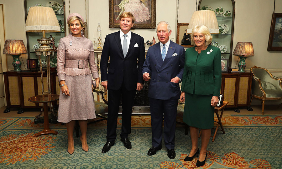 Queen Maxima and King Willem-Alexander joined Prince Charles and Camilla at their home, Clarence House, for a spot of tea. 