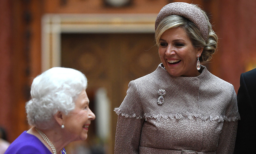 Animated Queen Maxima was surely taken by the Queen's wicked sense of humour. The monarch and her husband are staying at Buckingham Palace during their two-day visit. 