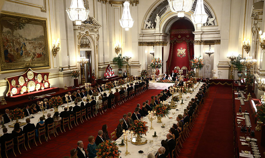 The glitzy state banquet for 170 people took months to prepare, and the palace gave a glimpse of the menu today - including vegetable and meat pies, plus chocolate orange torte for dessert! The Queen was seated between Prince Charles and King Willem-Alexander, who had Camilla on his other side. On the other side of Charles was Queen Maxima. Prince William and Kate were seated further down the line with the Dutch royals' aides and Prime Minister Theresa May.