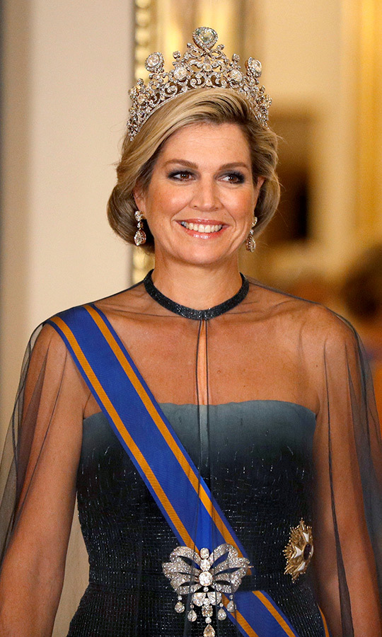 Queen Maxima wore the Stuart tiara, which she donned earlier this year while on a state visit to Luxembourg. But the last time the piece was worn in the UK was 35 years ago on Queen Juliana. The Dutch royals had not been on another state visit to see Her Majesty until now.