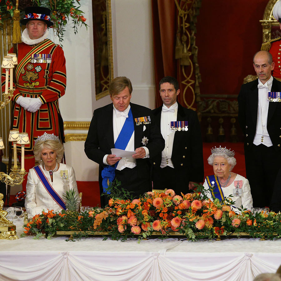 "In his speech, King Willem-Alexander spoke very highly of Her Majesty. ""The world looks to you as a trusted beacon in the midst of upheaval,"" he said. ""Your ability to keep in touch with the times is striking. You even have an adventurous streak, as you showed six years ago at the opening of the [2012 London] Olympic Games. In front of millions of viewers you played the role of the most fearless Bond Girl ever – with great panache!"" 