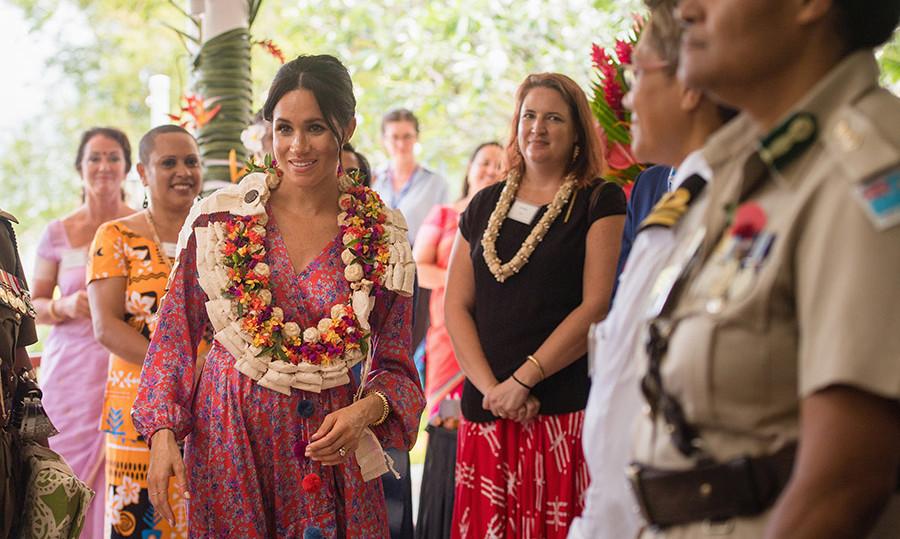 After making an empowering speech at the University of the South Pacific, Meghan and Harry split up for the afternoon. The duchess arrived at the British High Commissioner's residence for a morning tea.