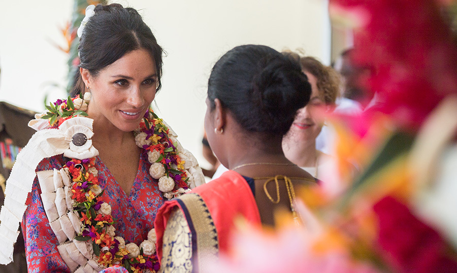 The Duchess of Sussex paid a visit to a morning tea reception at the British High Commissioners Residence, where she met with women artisans. 