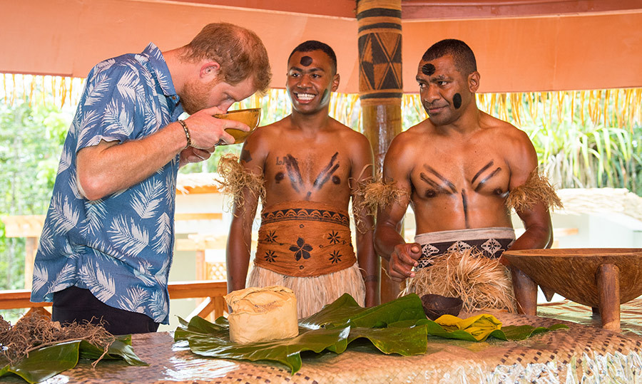 "The dad-to-be participated in a demonstration of kava making by Joeli Nasqqa and Eparama Uluiuiti. ""How much of this do you drink at the weekend?"" he joked, adding, ""It would be easier to just drink a beer!""