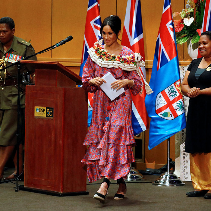 The Duchess of Sussex made an inspiring speech during a visit to the University of the South Pacific in Suva.