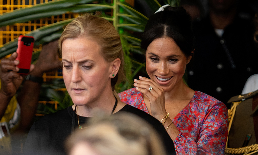 "A royal aide said: ""It was hot, humid and uncomfortably busy and there were far larger crowds than expected. She met everyone she was meant to meet and left. There would have been a lot of people who would have been keen to meet her but she did meet those who had hoped to. On advice she was taken out due to a crowd management issue."" Meghan's <a href=""https://ca.hellomagazine.com/royalty/02018102448187/meghan-markle-rushed-out-of-suva-market-female-security-guard/"">female security officer</a> made a beeline for the car with the royal behind her.