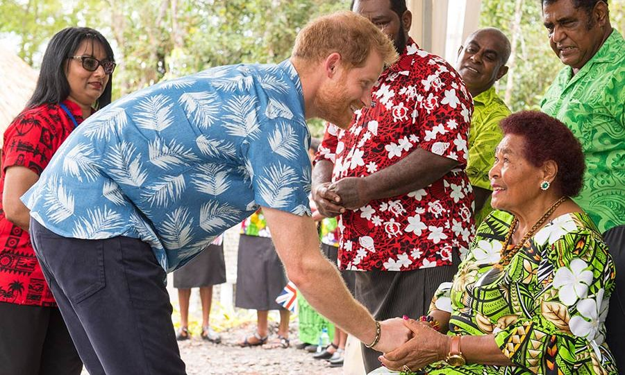 Prince Harry got to meet a woman who served his grandparents on their coronation tour in 1953! Litiana Vulaca, 87, was chosen by her employer Frances Lilian Charlton at age 21 to attend to the Queen and Prince Philip, who she revealed liked to take his lumps of sugar with his hands rather than a spoon - much to her surprise!