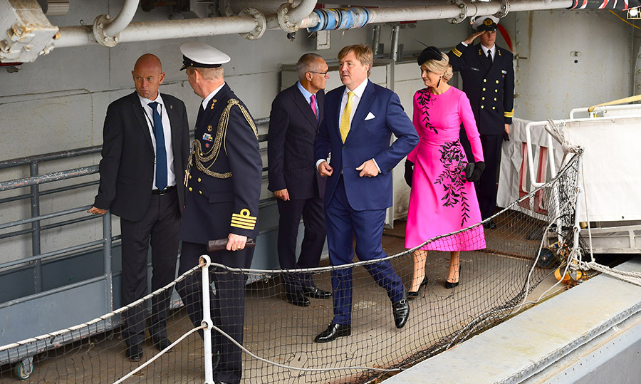 King Willem-Alexander and Queen Maxima climbed aboard the HMS Belfast to watch an on-the-water capability demonstration between the Royal Netherlands Marine Corps and the Royal Marines.