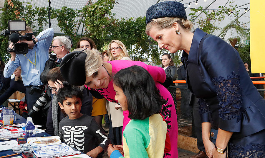 Sophie, Countess of Wessex joined Queen Máxima to speak to children at Pop Brixton.