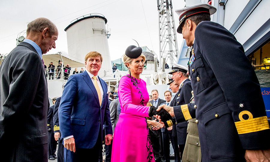 The parents of three joined the Duke of Kent and Countess of Sussex joined forces to watch a demonstration of Dutch and British Navy cooperation at the Zr.Ms. Zeeland.