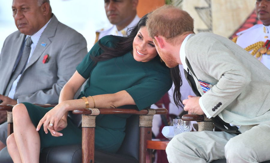 The Sussexes shared a private moment before enjoying the unveiling of the Labalaba Statue at Nadi Airport in Fiji. The statue commemorates British-Fijian soldier Sergent Talaisai Labalaba, who lost his life in the 1972 Battle of Mirbat.