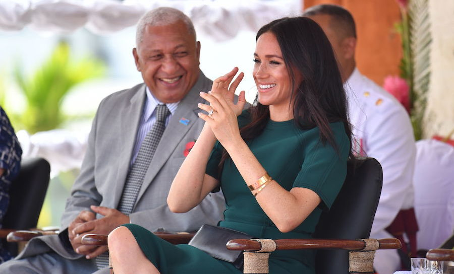 Something must've made Meghan laugh!