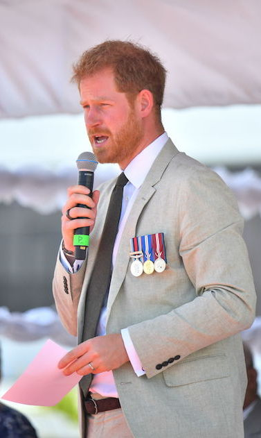 "Prince Harry spoke to the crowd at the unveiling. ""My grandparents have visited a number of times and Your Majesties have been frequent visitors to see my family over the years,"" he said. ""We have a strong bond as members of the Commonwealth; we share so much history - and common values."" 