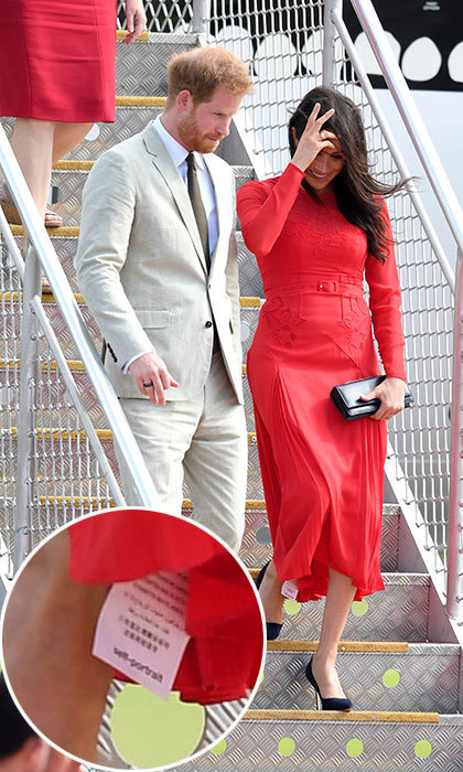 "One of very few fashion faux pas for the duchess happened while she was exiting the plane in Tonga - <a href=""https://ca.hellomagazine.com/fashion/02018102548219/meghan-markle-fashion-faux-pas-self-portrait-tonga"">her tag was still on her Self-Portrait dress</a>! It was spotted hanging off the hem of her skirt, though this very relatable moment still couldn't take away from how beautiful she looked.