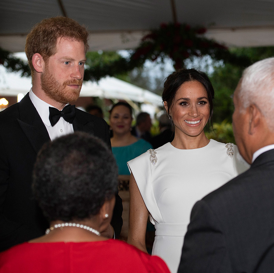 "Prince Harry and Meghan chatted with attendees at the evening reception, where the duke gave a speech - including a message from his granny, the Queen! ""Your Majesties, it gives me great pleasure that my grandson and his wife are visiting The Kingdom of Tonga. Our two families have enjoyed a deep and warm friendship over many years, and I hope that our close relationship continues with the next generation. To this day, I remember with fondness Queen Salote's attendance at my own Coronation, while Prince Philip and I have cherished memories from our three wonderful visits to your country in 1953, 1970 and 1977. In the months and years ahead, I wish Your Majesties and the people of Tonga every good fortune and happiness.""