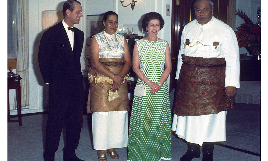 During their silver jubilee visit in February 1977, the monarch and her husband hosted King Taufa'ahau Tupou IV and Queen Halaevalu Mata'aho 'Ahome'e on the Royal Yacht Britannia.