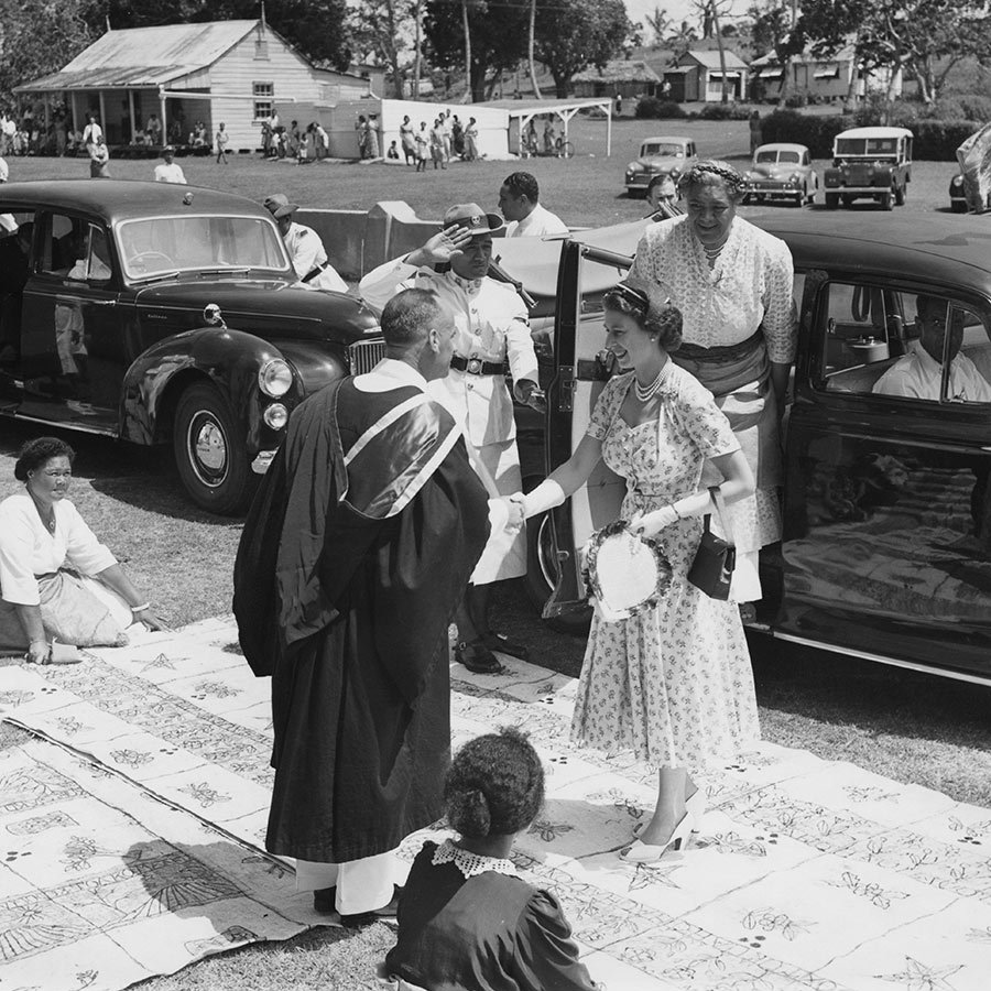In December of 1953, the Queen attended a service at the Wesleyan church in Nuku'alofa with Queen Salote.