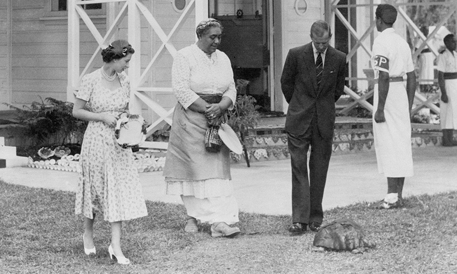 The Queen and Philip had the chance to meet a tortoise said to be gifted to the Tongan king by Captain Cook.