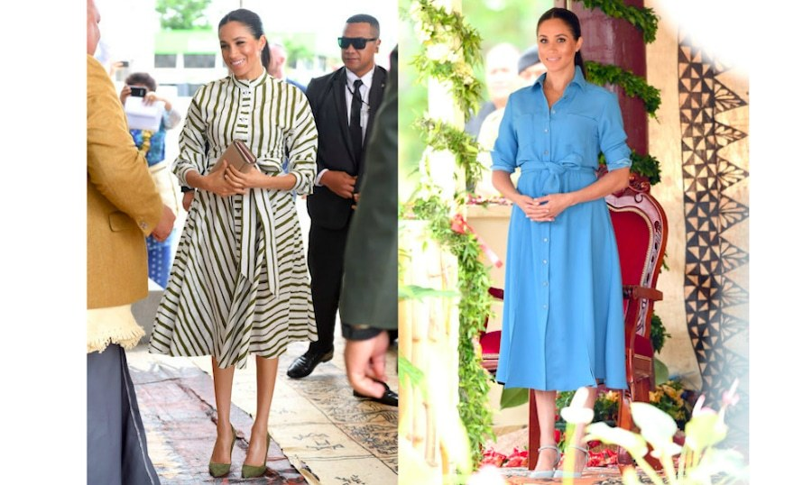 It's been a quick stay in Tonga for the Duke and Duchess of Sussex, but it wasn't without a few amazing outfits from Meghan! On the final day of their Tongan leg, for a visit with Tongan Prime Minister 'Akilisi Pohiva, the <em>Suits</em> alum broke out one of her favourite Australian designers, Martin Grant, again! She looked elegant as ever in an olive-green-and-white striped cotton dress by the label, pairing it with the Prada 'Bibliotheque' bag, the same olive green pumps she wore to Prince Louis' christening, and her go-to Birks Bee Chic earrings.
