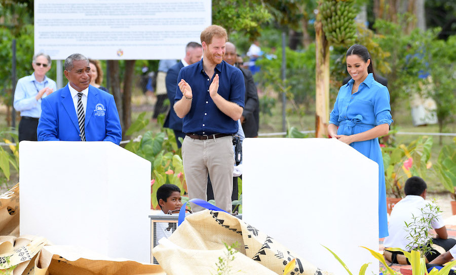 Prince Harry and Meghan visited Tupou College, the oldest secondary school in the Pacfici, for the unveiling of the Queen's Commonwealth Canopy. They dedicated two forest reserves at the school's on-site forest to the cause.