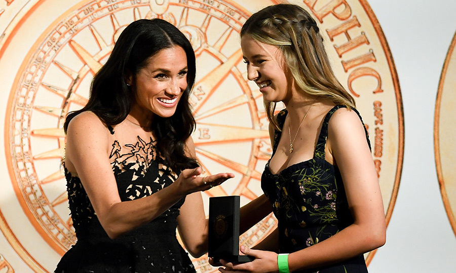 They shared a sweet moment as Meghan handed Sophia her award.