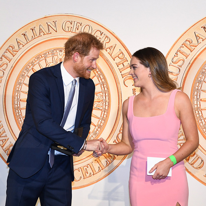 Prince Harry showed off his megawatt smile while presenting Jade Hameister with the Young Adventurer of the Year award.