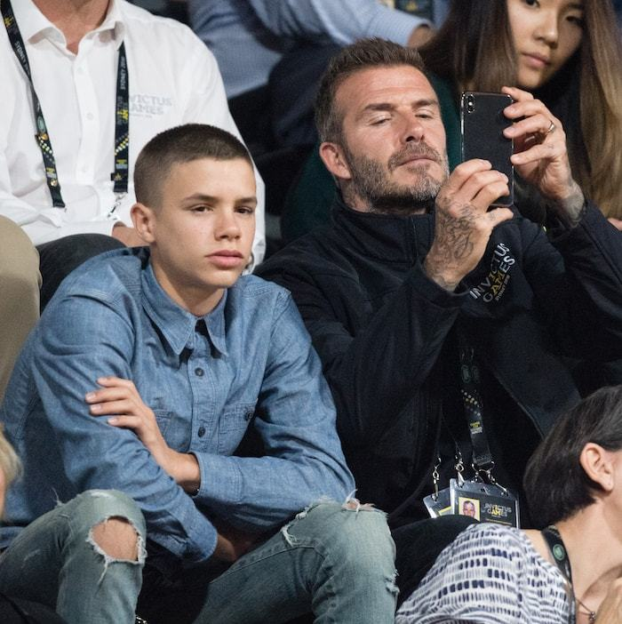 Romeo and David Beckham attended the wheelchair basketball game together.