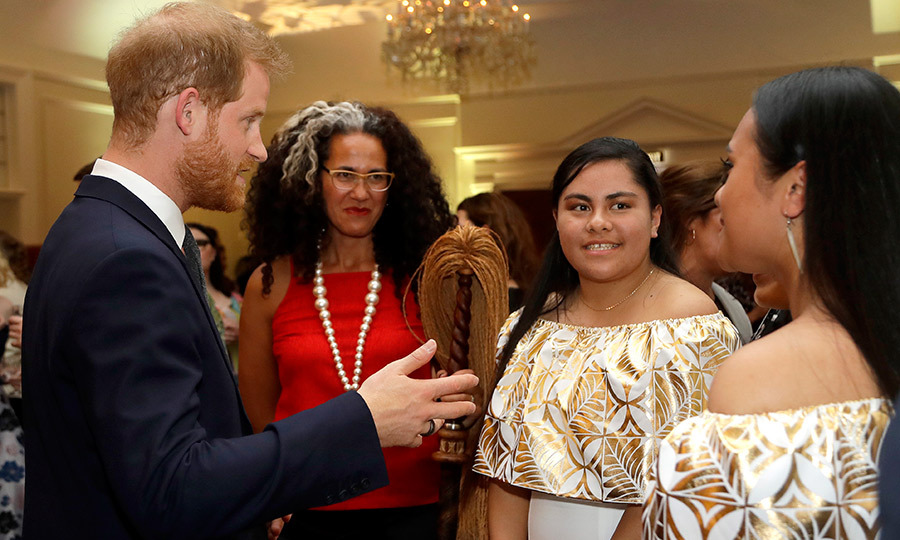 Prince Harry chatted with guests at the reception, which celebrated 125 years since women in New Zealand were able to vote - the first country in the world to do so! Among others, he spoke to New Zealand's current Poet Laureate, Selina Tusitala Marsh (in red), who also spoke at the event.