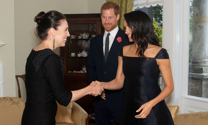Ahead of the reception, the couple spent some quality time with Prime Minister Jacinda Ardern. 