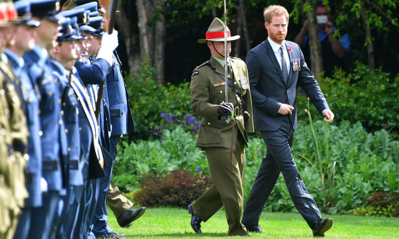 Prince Harry inspected the Honour Guard during the couple's welcome ceremony.