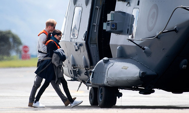 The Duke and Duchess of Sussex hopped into an Air Force NH90 helicopter at the military terminal to fly to the South Island's stunning Abel Tasman National Park.
