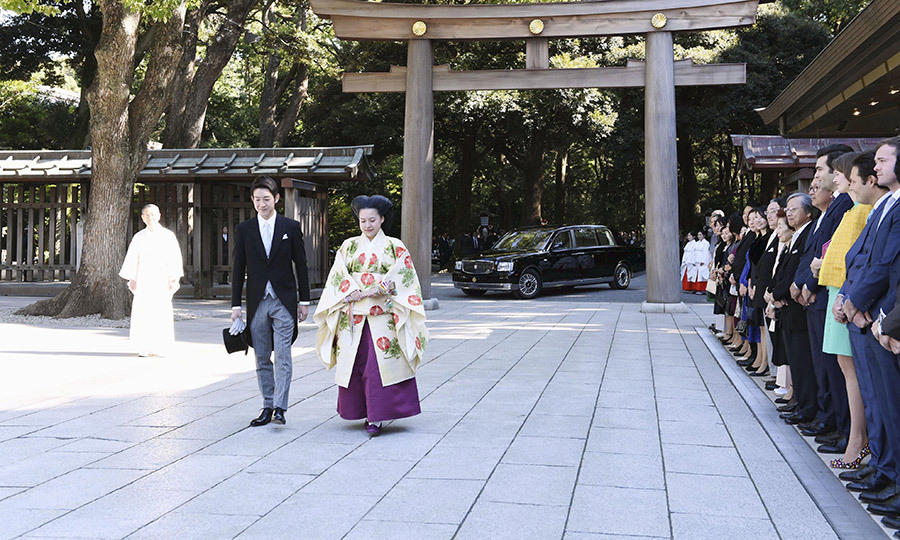 The couple walked past a line-up of well-wishers, there to support the soon-to-be married pair.