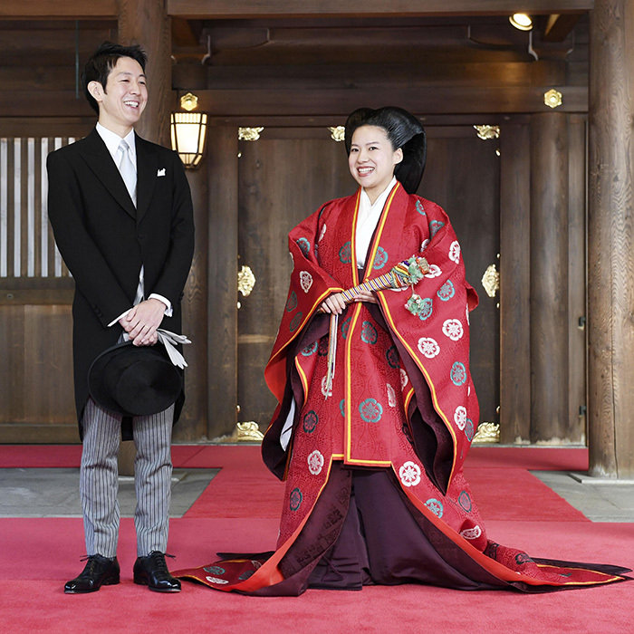 "The elated newlyweds stopped for a beautiful photo together outside of the shrine after their prayer offerings. Kei said that his new wife looked ""beautiful"" and shared his hopes for their future. ""I would like to support her firmly and, hand in hand, build a happy family with lots of laughter,""