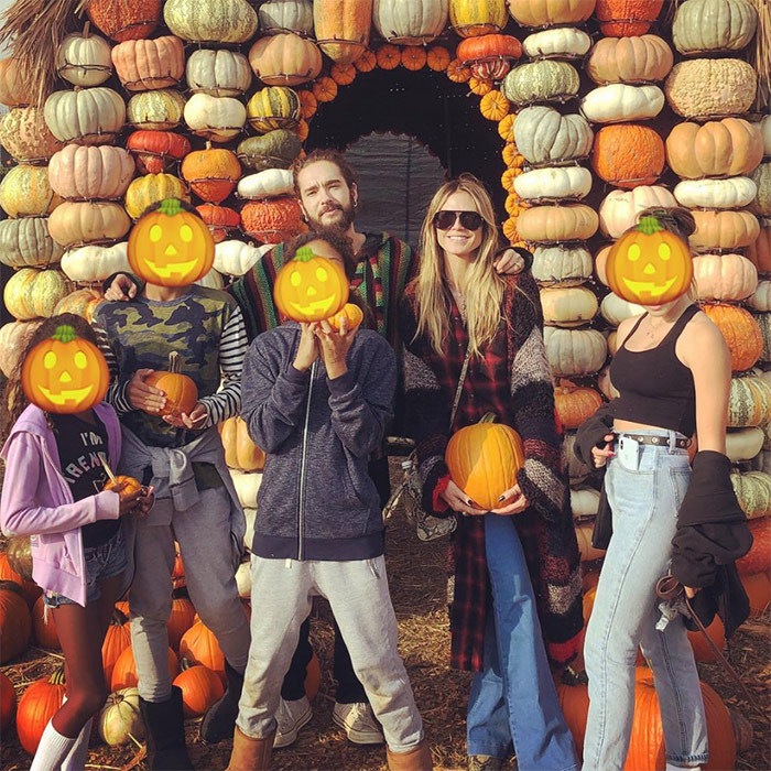 Heidi Klum's big family – including Helene, 14, Henry, 13, Johan, 11, and nine-year-old Lou – enjoyed a day out at the pumpkin patch, too.