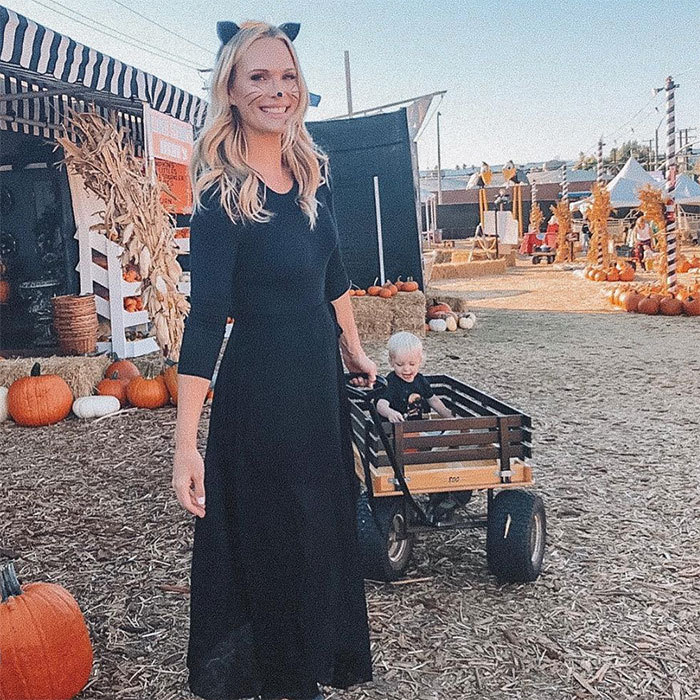 Molly Sims looked purrr-fect for a day out with her one-year-old, Grey, finding the best pumpkins. 