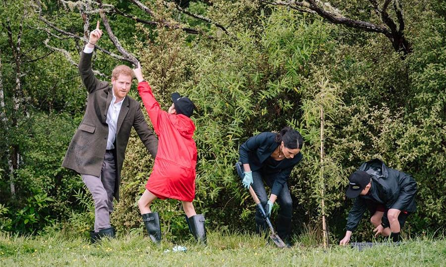 Meghan joined in on the fun, planting a tree with one young environmentalist as another taught Harry about the area's natural wonders.