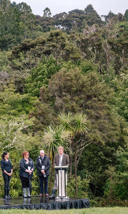 "Prince Harry gave a speech as the Sussexes unveiled the newest addition to the Queen's network of conservation initiatives, saying, ""My wife and I are delighted to be here at the opening of this covenant, which will form part of The Queen's Commonwealth Canopy network."" The area will be called the Carol Whaley Native Bush, honouring a long-standing conservation supporter.