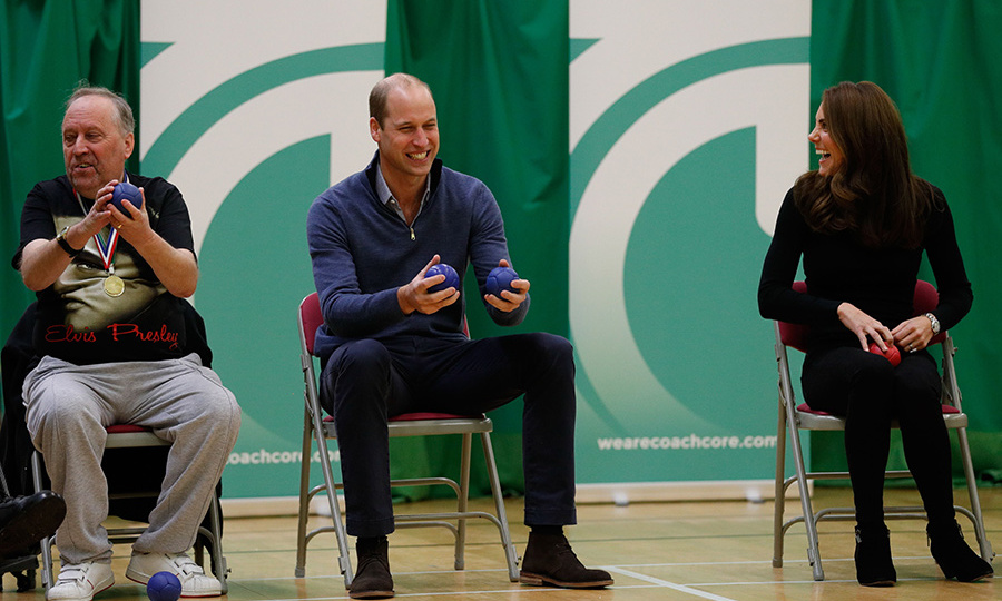 The loved-up pair couldn't stop laughing as they took part in a fun game of Boccia, one of the sports favoured at Sport for Confidence, which offers sporting opportunities to those who generally face barriers to participation.