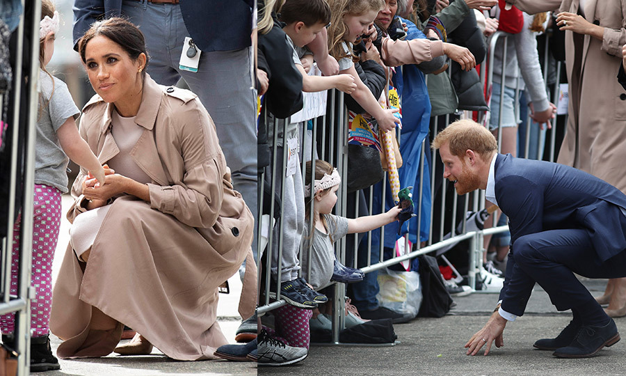 "Little Zoey Bliss-Currie at Viaduct Harbour on Oct. 30 had a very special toy to give Baby Sussex, but she was a tad shy in the process. ""It was really sweet,"" her mom Shantelle told the <a href=""https://www.standard.co.uk/news/world/glamorous-mumtobe-meghan-markle-turns-heads-as-she-arrives-for-a-reception-at-aucklands-war-memorial-a3975151.html"" target=""_blank"">Evening Standard</a>. Harry could see she was (uncomfortable) standing at the front of the barriers and he asked her to come through the railings to his side."" As the adorable tot showed the prince the native New Zealand Tui bird finger puppet, he asked if she'd rather give it to him or Meghan. ""And she pointed to Meghan. Meghan then came over and crouched down to talk to Zoey and asked, 'is that a gift for my baby?' and graciously accepted the puppet. She told her she would keep it for the baby and name the toy after Zoey.""