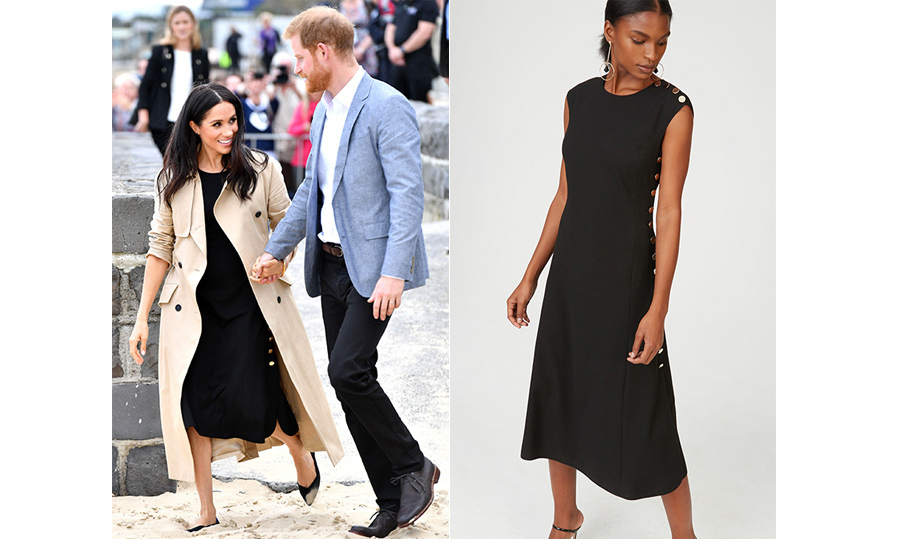 A quick outfit change and tram ride later, Prince Harry and Meghan found themselves on South Melbourne Beach, where they joined local school children for a beach clean. For the occasion, Meghan donned Canadian brand Club Monaco – their sleeveless 'Miguelina' dress, fashioned with gold buttons up the sides. She paired the look with black flats by Rothy – which she wore the day prior for a boat ride – and slipped into her trusty Martin Grant trench coat.