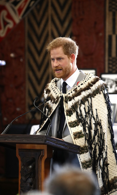 "Dad-to-be Harry spoke during their visit, making the first part of his speech in Maori - which brought gasps of delight as he used the word ""whaiaipo,"" or sweetheart. He said: ""Thank you for the beautiful cloak you have so kindly gifted to myself and the duchess. We appreciate the skill of the weavers who made it, and the aroha (compassion) that has gone into its creation. This cloak is a taonga (possession) that will be cherished in our family.