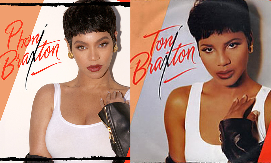 "Beyonce recreated a number of poses by ""Un-Break My Heart"" singer Toni Braxton, captioning one set: ""Sending love and adoration to one of our talented legends. Thank you for the countless bops. Your tone, your beauty, your range, and your God-given talent is treasured. Loving you always. Have a Happy Halloween my Kings and Queens."" Toni was totally on board for Phoni Braxton, tweeting, ""Phoni Braxton!? NEVER!!! How do you look better than me on MY album cover? I LOVE IT, Such a superstar! Thanks for the love sis! Happy Halloween. Who run the world…GIRLS! GIRLS!""
