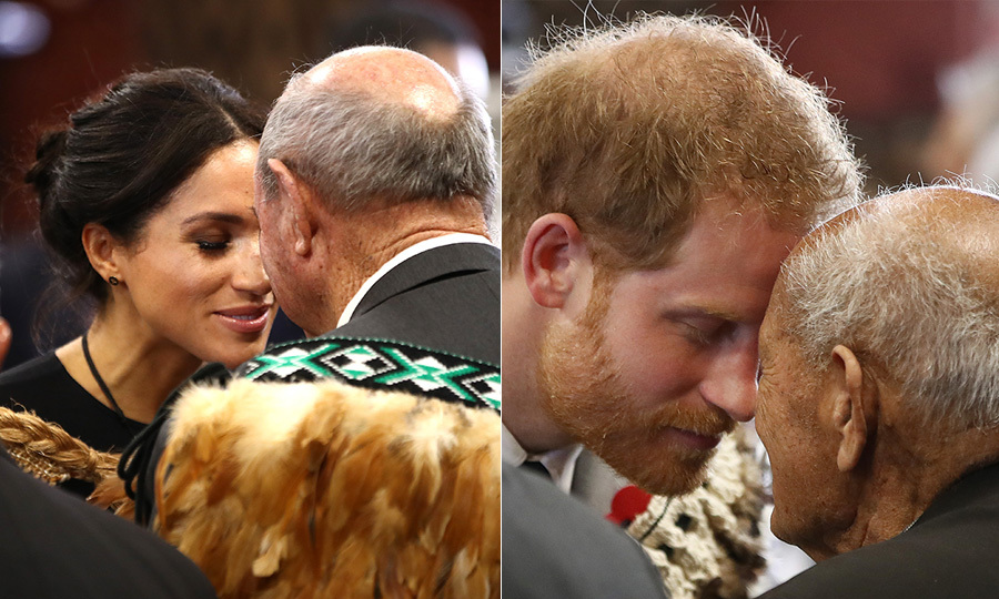 On the last day of their royal tour, Prince Harry and Duchess Meghan visited Te Papaiouru Marae – a meeting house for local Maori tribes – and received a warm hongi welcome.